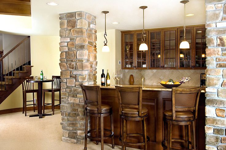 Might already have, but this may be better pic. *** Small Basement Design Basement Awesome Basement Bar Design Ideas With Stone Kitchen Pillar Dark Brown Wood Barstool Dining Chair And Small Cone Lampshade Stunning Bar Design For Basement Decoration