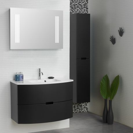 Perfect Scanbad Modern Badm belset cm mit Schubladen und Spiegel mit Beleuchtung