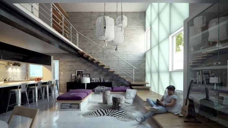 déco loft cool - tapis imprimé zèbre, cuisine équipée, canapés en bois et béton et revêtement de sol en bois massif