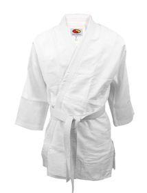 Kimono SMJ Judo 160cm. Klasyczne kimono do judo dla osób początkujących o gramaturze 550 g/m2 w kolorze białym. Idealne do treningu zarówno dla kobiet jak i mężczyzn. Bluza z wzmocnionym kołnierzykiem, spodnie na gumce z dodatkowym sznurkiem do wiązania. #kimono #judo #sportywalki