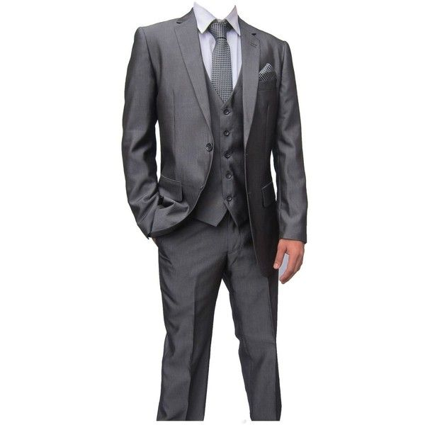 Mens Designer Suit Mid Grey Charcoal Rocky 3 Piece Suit Ideal for... (205 CAD) ❤ liked on Polyvore featuring men's fashion, men's clothing and men's suits