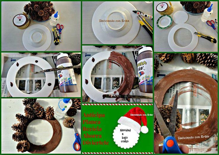 Corona de navidad con pi as de pino reciclaconerika - Como hacer centros de navidad con pinas ...