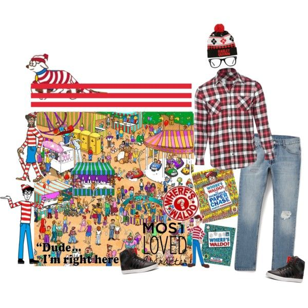 WHERES WALDO by diaparsons on Polyvore featuring art, contest, menwear, waldo and WHERESWALDON
