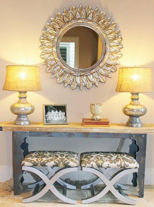 good arrangement to add extra seating, lighting, storage in small area of living room or entry.
