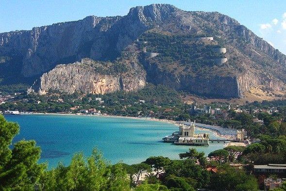 view of Mondello and Monte Pellegrino from Monte Gallo.  Palermo.