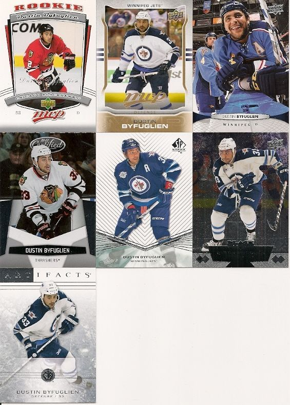 7 DIFFERENT DUSTIN BYFUGLIEN HOCKEY CARDS LOT +RC!