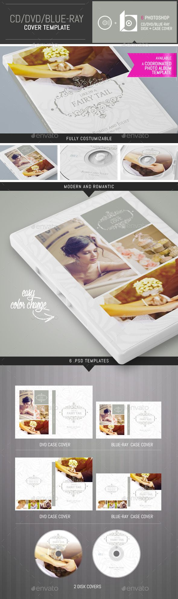 Elegant Wedding DVD / CD Cover Template — Photoshop PSD #baby shower #fashion • Available here → https://graphicriver.net/item/elegant-wedding-dvd-cd-cover-template/9693368?ref=pxcr