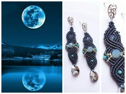 Blue moon earrings  #macramè #macrame #simona #rotaris