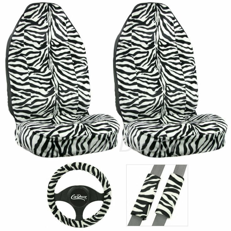 Fun Girly Zebra White 5 Pc Car Auto Seat Cover Set