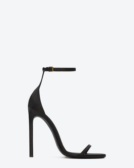 online mens fashion Classic saint laurent jane Sandal in Black Leather  Shoes