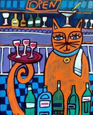 Orange Cat Art Print Poster Bartender Funny Cat Art  print of Painting by Heather Galler (HG7231)