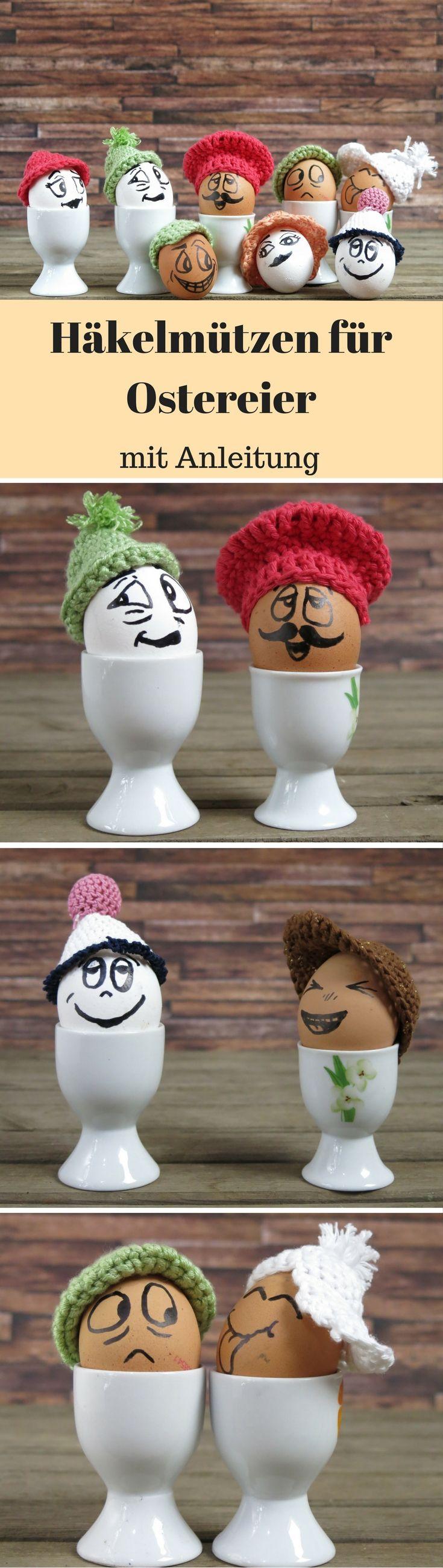 So, hier ist nun meine erste Anleitung für einfache Häkelmützen. Damit es an Ostern etwas bunter wird bekommen bei uns die Eier Mützchen auf. Das hält gekochte Eier länger warm und sieht obendrein noch witzig aus. Zusätzlich können die Eier natürlich auch noch bemalt werden. Gerade Ki…