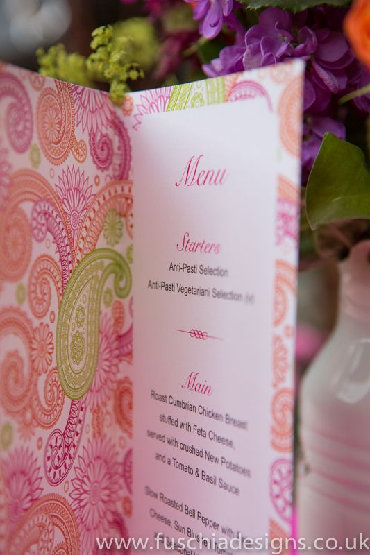 Inside of Asian Bombay Mix Menu…create your own personalised menu for your guests to enjoy.  Perfect for Asian weddings from www.fuschaidesigns.co.uk.