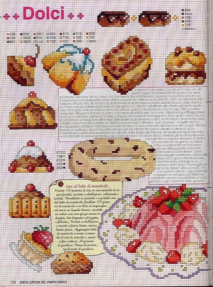 Schemi a punto croce gratuiti per tutti: Schemi a punto croce dolci, dolcetti e torte