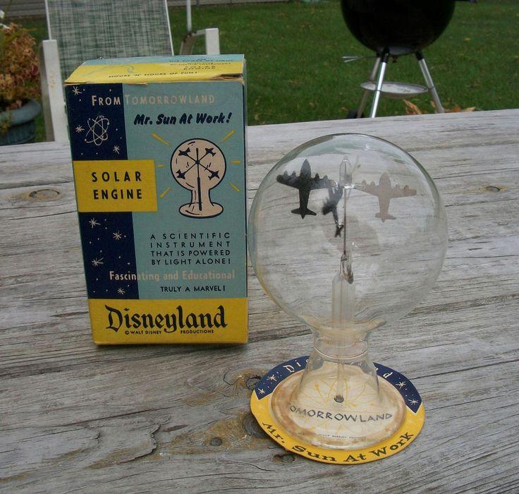 Vintage Disneyland Tomorrowland Souvenir Solar Engine w Box Walt Disney Airplane