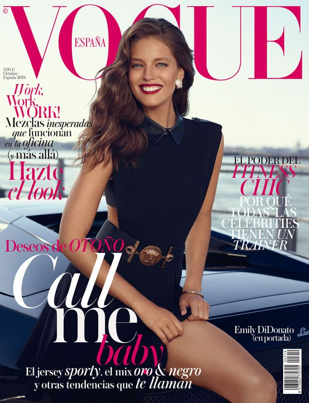 Landing yet another Vogue cover, top model Emily DiDonato is all smiles on the October 2014 issue of Vogue Spain. Photographed by Miguel Reveriego and styl