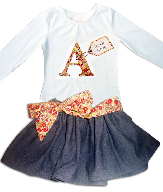 Girl's Personalized Skirt and Tee shirt Outfit / Personalised T-shirt / Babies / Children's Clothes / Kids