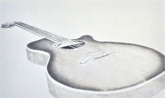 Contour Line Drawing Guitar : Guitar drawing in pencil black and white