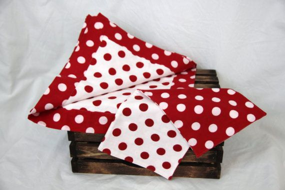 Red and white dot baby set is Ready to ship by kernscraftcorner