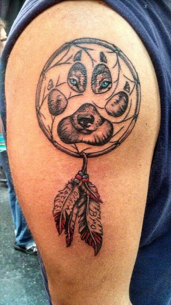 Wolf Dreamcatcher Tattoo Design for Men.
