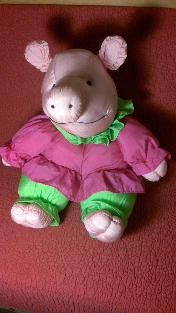 "18"" Plush Creations NYLON PUFFY PUFFALUMP PIG STUFFED TOY 1992"
