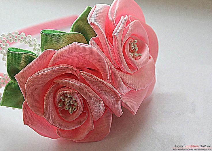 Как сделать розы из ленты своими руками, пошаговые фото и инструкция по созданию цветка, семь вариантов роз из ленты в виде бутонов и распустившихся цветов. Фото №1
