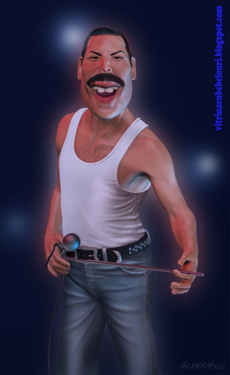 Caricatura de Freddie Mercury.