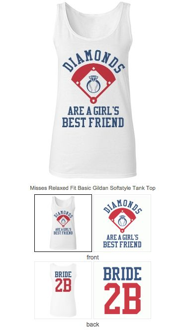 Baseball bachelorette tank tops you can customize and personalize for the bride to be. Get one for all the bridesmaids too! #BaseballBachelorette #BacheloretteParty