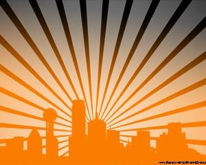 Esta es una presentación de PowerPoint con un efecto extraño de ciudad iluminada desde atrás