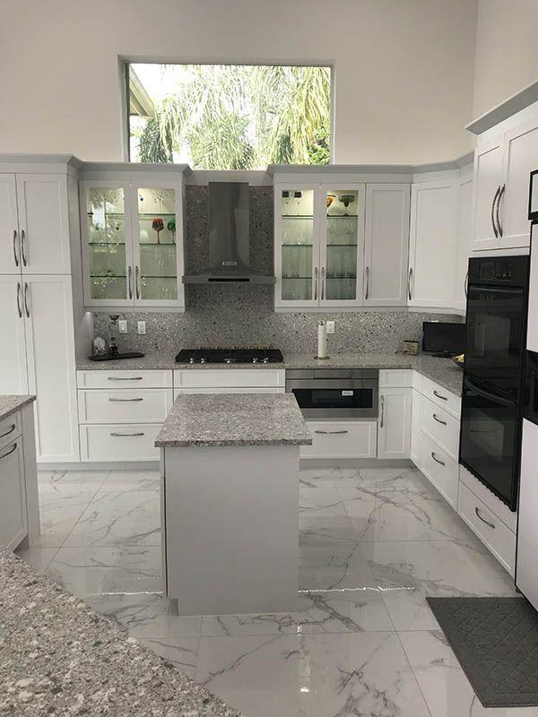 Kitchen Cabinet Refacing In Pompano Beach And Boynton Beach Fl Grey Kitchen Island Kitchen Remodel Gray And White Kitchen