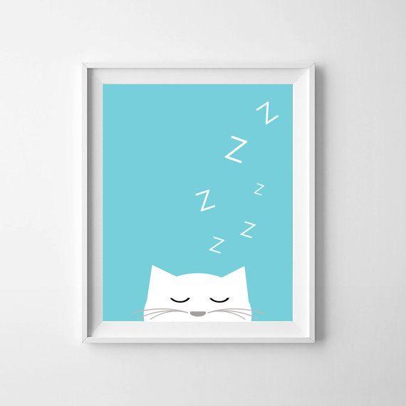 Baby wall art printable, Scandinavian, Sleepy Cat (Aqua), nursery decor, gender neutral, illustration, wall art print, kids room decor