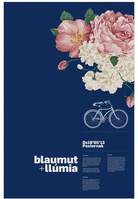 i like how the flowers stand out against the dark blue. The bike seems kind of random and I feel like it would look better without it.