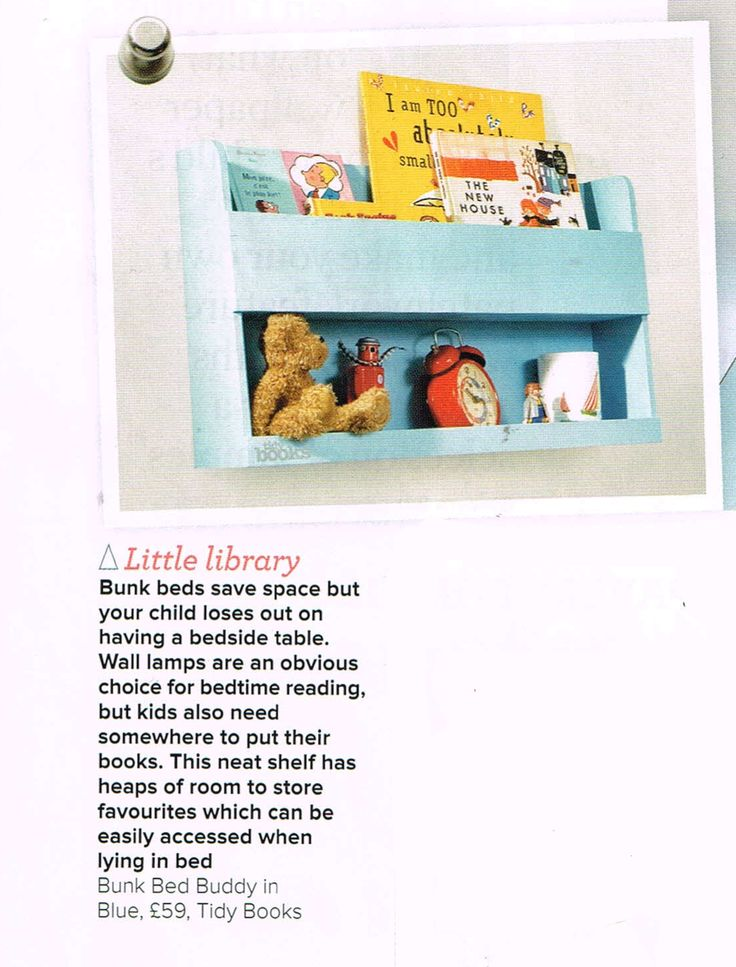 The Tidy Books Bunk Bed Buddy featured on  Home Décor magazine Ideal Homes.  UK…