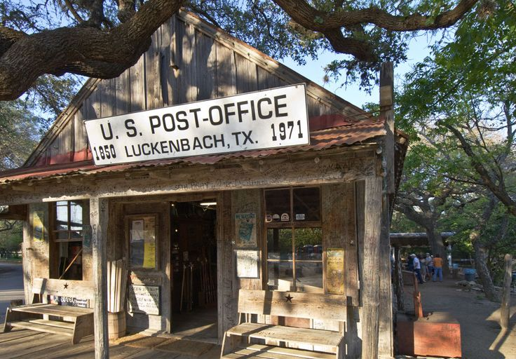 Luckenbach, TX: Only 13 miles from Fredericksburg, Luckenbach is another must-see Hill Country town. You can still visit its oldest building today—it's a combination of a general store, post office, and a saloon, which opened in 1886, a few decades after the town was established as a trading post in 1849.