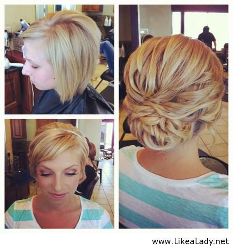 Short hair updo. What an awesome job making it work with that short hair! Miss being in the salon.