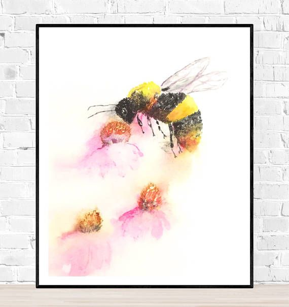Original bee painting originele aquarel dieren