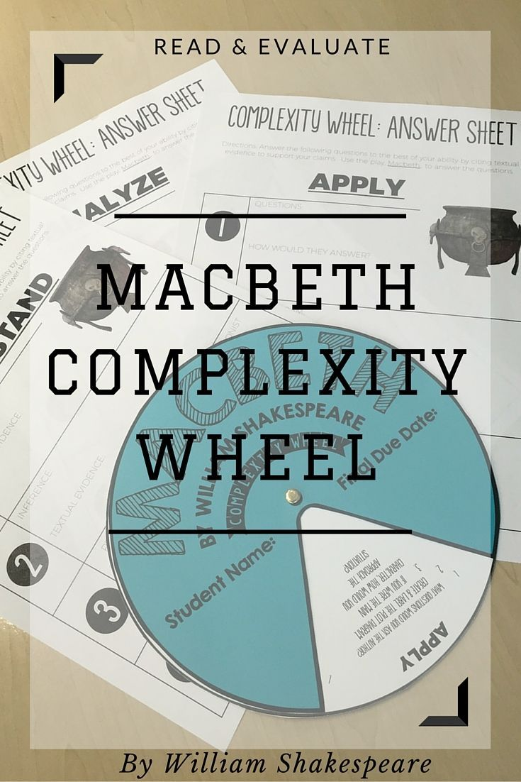 Complexity Wheel for Macbeth by William Shakespeare | based on Bloom's Taxonomy and Depth of Knowledge | Grades 7-12 | Middle and High School English
