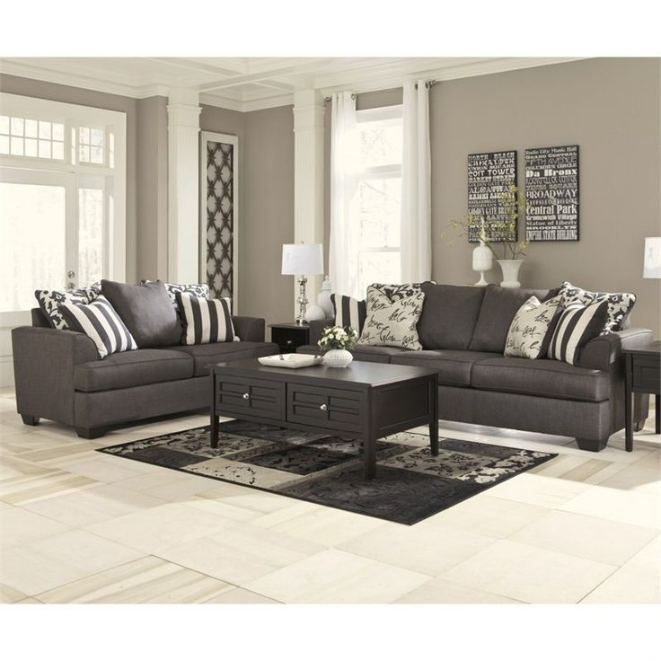 Signature Design By Ashley Furniture Levon 2 Piece Sofa Set In Charcoal |  Sofa Set, Living Rooms And Room