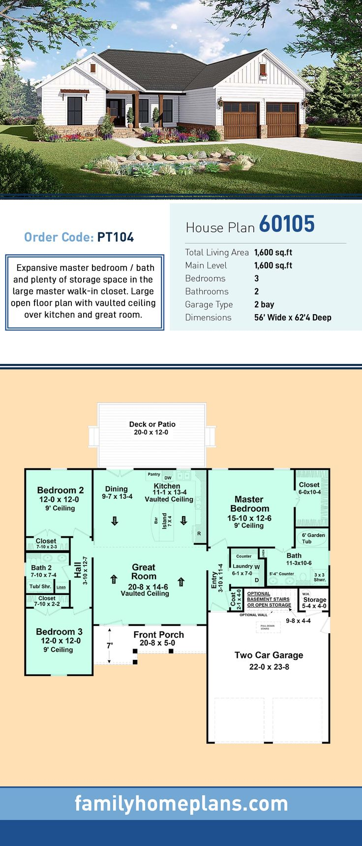 Country Home Plan With Open Floor Plan