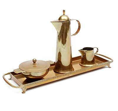Found on www.botterweg.com - Brass mocha-set mocha-jug sugarbasin milkjug on rectangular brass tray design execution by Jan Eisenloeffel / the Netherlands ca.1905