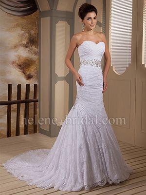 Mermaid / Trumpet Strapless Sweetheart Asymmetrical Waist Satin Lace Wedding Dress - US$ 329.99 - Style WD8472 - Helene Bridal