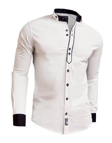 Designer Men Casual Formal Double Cuffs Grandad Band Collar Shirt Elegant Tie DR D&R Fashion #casual #mens fashion #menswear #denim #Christmas #clothing mens
