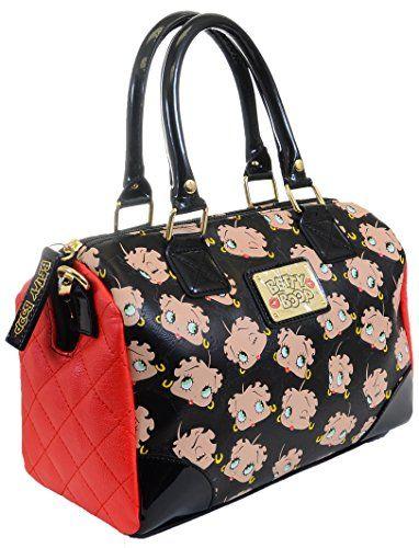 Betty Boop Face AOP Black Patent Loungefly Crossbody Handbag Purse