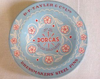 Vintage Steel sewing pins - Dorcas England tin of pins - 1960s steel dressmaker pins