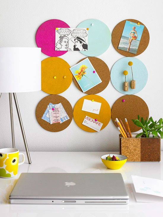 Cork It - Fashion an office memo board from inexpensive cork trivets.To begin, paint the cork rounds with two coats of acrylic paint in your chosen color palette. Leave several unpainted for a more natural look. Once dry, turn the cork pieces over and arrange in the design you prefer; secure together with masking tape. Use wall Velcro to hang.