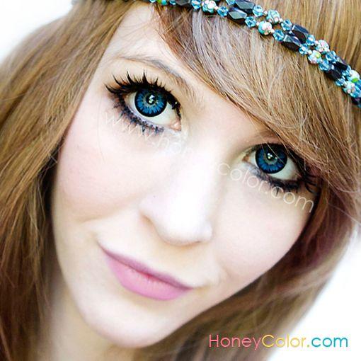 Flora Gerbera Blue - FLORA Color Contact Lens - Circle Contact Lens - Cosmetic Contact Lens - Colored Contacts - HoneyColor.com
