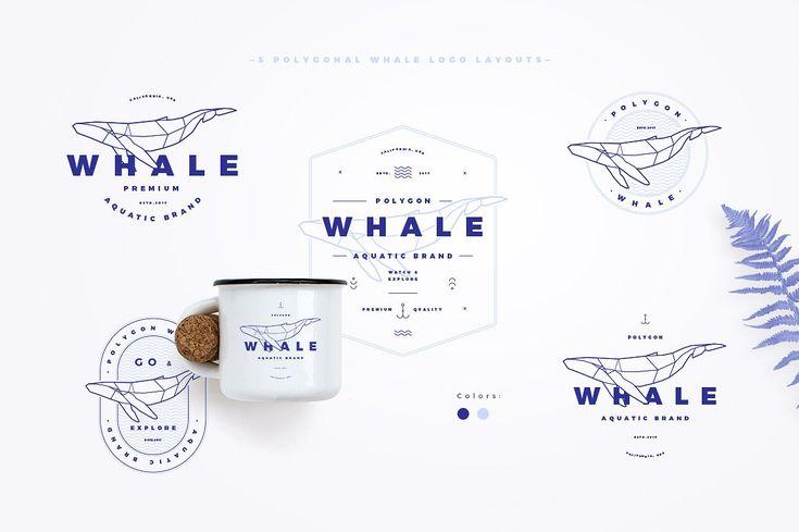 Polygonal Whale Logo Set by blauananas on @creativemarket