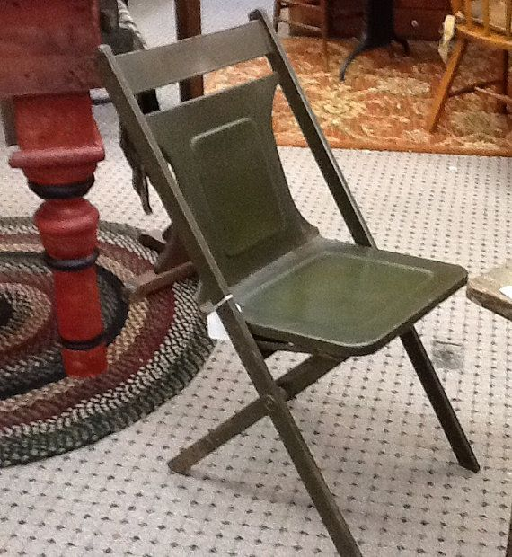 1924 Army Green Folding Chair Green Metal Chair Maple