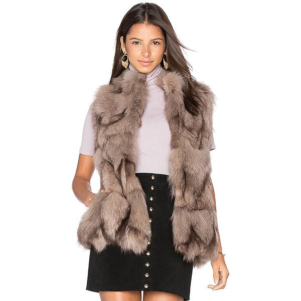 jocelyn Fox Sections Vest ($1,020) ❤ liked on Polyvore featuring outerwear, vests, coats & jackets, brown fur vest, brown waistcoat, fox fur vest, fur waistcoat and fox vest