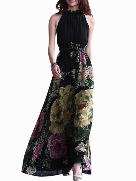 Abito lungo nero stampa floreale moda 2015 esotica, Chiffon Dress